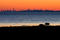 new york city, nyc, skyline, greenwich, tod's point, silhouette, sunset