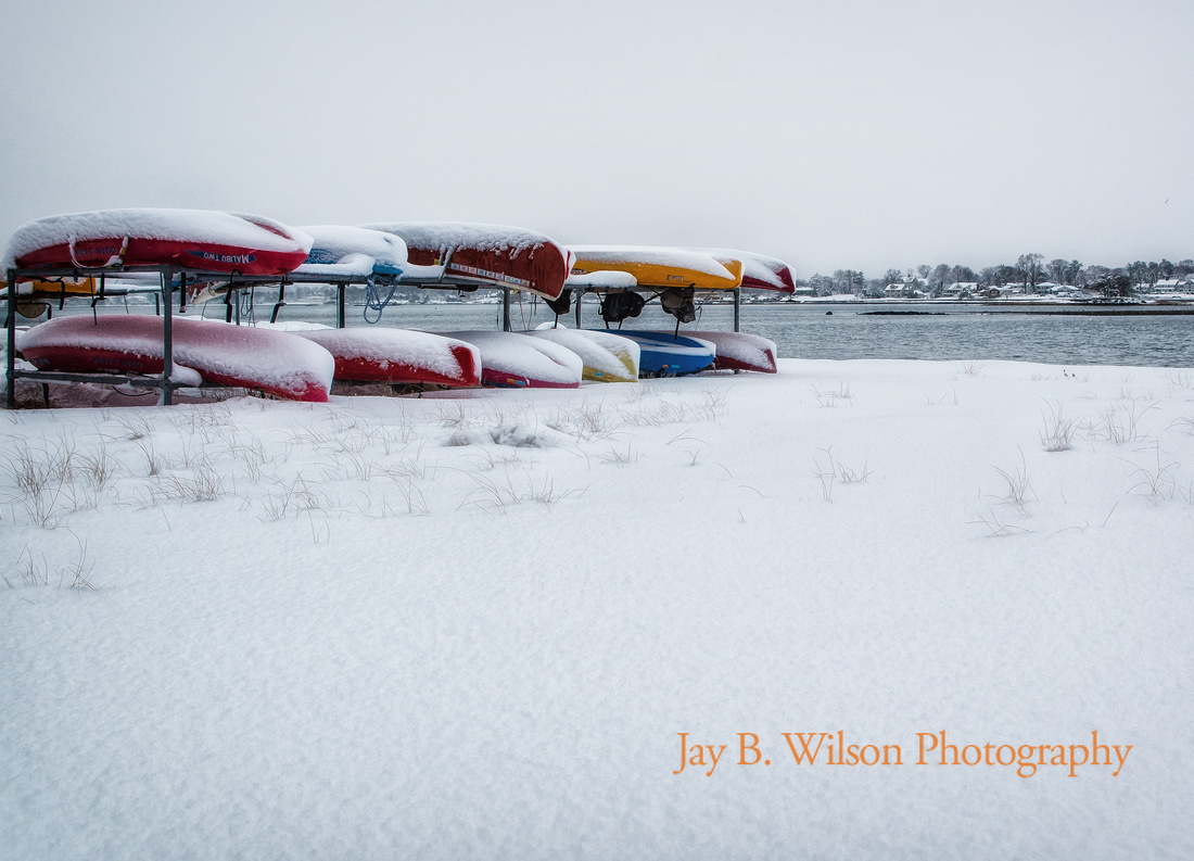 kayaks at tod's point, old greenwich, ct, in winter